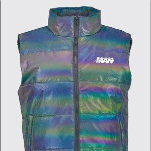 MAN Rainbow Reflective Sleeveless Puffer